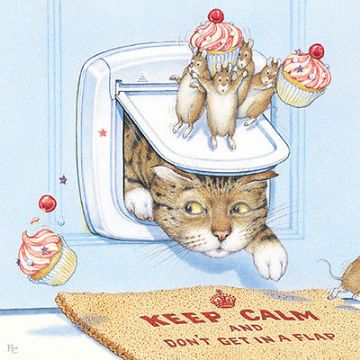 "BLANK CARD ""CAT FLAP/MICE AND CAKES"" LARGE SQUARE SIZE 6.25"" x 6.25"" PCII 0066"